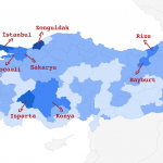 Türkiye koronavirüs haritası şehirler